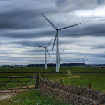 Photograph of wind turbines in East Hedleyhope by Mick Garratt, under Creative Commons licence