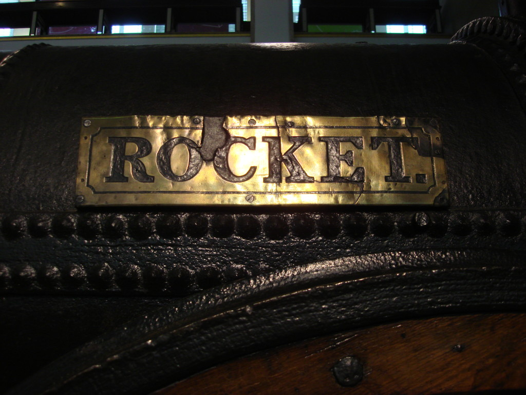 The nameplate on George Stephenson's Rocket, at the Science Museum in London. Photograph by Oxyman under Creative Commons Licence.